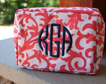 8 Personalized Bridesmaid Gift Cosmetic Bag Coral Damask