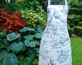 Nautical Themed Blue and White Adult Apron
