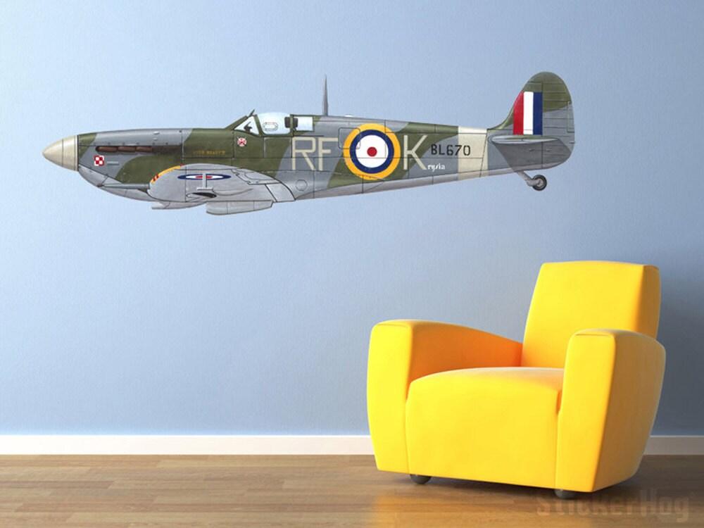 Vintage World War 2 Airplane Supermarine Spitfire Wall Decal