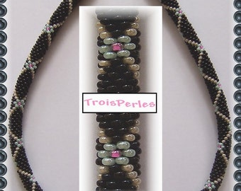 80 Beaded crochet necklace - necklace - Pearl - crochet chain