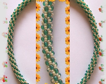 58 Beaded crochet necklace - necklace - Pearl - crochet chain
