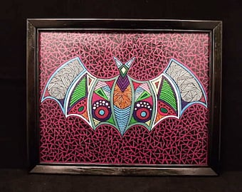 12x15 OOAK Original Acrylic Bat Painting with Black Frame