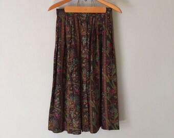 1970s paisley skirt | button front flounce midi skirt