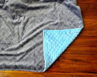 Baby Blue and Gray Chevron Blanket - Ultra Soft Minky Blanket - Personalized Baby Blue and Charcoal Gray Baby Blanket