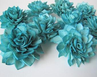 Teal Dahlia Sola Flowers - Set of 12, Teal Folded Sola Flowers, Teal Sola Flowers, Wood Sola Flowers, Balsa Wood Flower, DIY flower