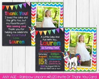 Rainbow Unicorn Birthday Invitation Or Thank You Card Any Age Digital File