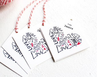 Custom Name Gift Tags, red heart love handmade tags with bakers twine, personalized wedding favor tags, birthday party favor tags for kids