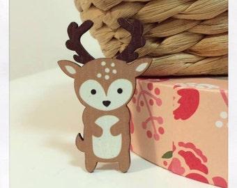 Laser Cut Wooden Deer Brooch