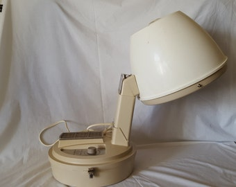 GE Portable Electric Professional Hair Dryer in tan and white from the 1960's