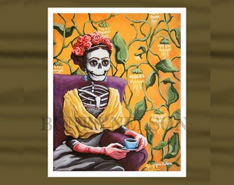 Day of the Dead Frida Kahlo Art Print. Skeleton Frida La Catrina. Mexican Folk Art Flowers in Hair Portrait dia de los muertos Gothic Lady
