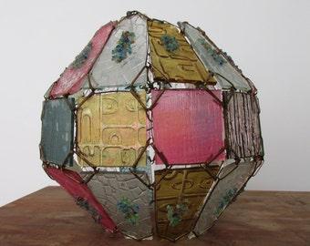 Vintage Mid Century Art Glass Hanging Light Globe Retro Hippie Boho