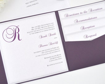 SALE! Purple Wedding Invitation, Pocketfold, Plum, Silver, Eggplant, Formal, Classy, Rustic, Romantic, Simple, Monogram, Donna Design