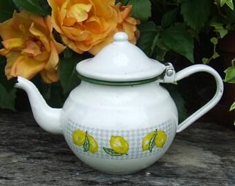 Vintage French Enamelware Teapot Pretty Lemons Design, Enamelware Tea Pot, French Enamel