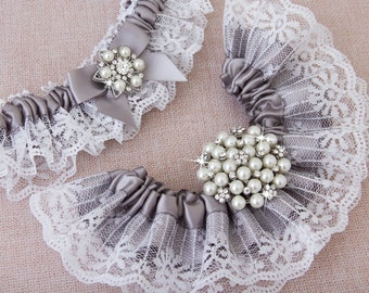 Black Lace Bridal Garter Set Gothic Wedding Goth Stretch Lace And Beaded Crystal Applique By