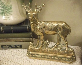 SALE 19th Century Brass Stag Doorstop or free standing ornament