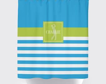 golf shower curtain for boys monogrammed name preppy stripe male golfer turquoise