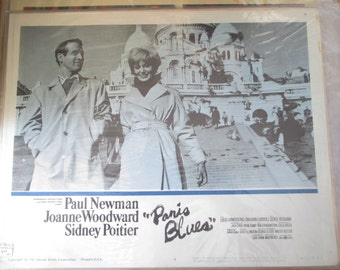 "1960 Lobby Card - ""Paris Blues - Paul Newman, Joanne Woodward and Sidney Poitier - Estate find!"