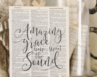 Amazing Grace Wood Sign Vintage Dictionary Book Page Wall Art Print Hymn French Farmhouse  Decor Wedding Bible Scripture Verse