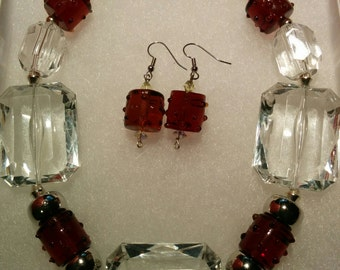 Acrylic Beads with Glass Necklace and Earring Set