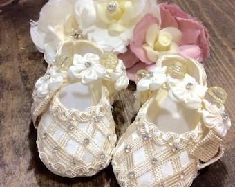 Baby girl baptism shoes ivory (Elsa)