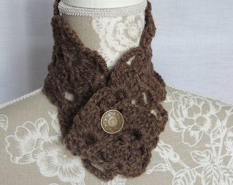 Victorian inspired handmade lacy neckwarmer (brown)