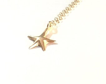 Gold Starfish Bali 24K Gold Vermeil Charm dainty Gold Fill Chain Necklace - B0205