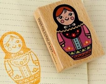 Wooden Rubber Stamp - Matryoshka