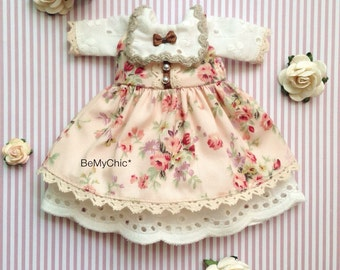 Awesome 2 pcs Blythe Dress Outfit Sweet Cotton Lace Floral Dress Pink