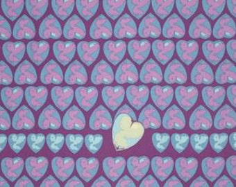 Tina Givens Feather Flock 'Heart Candy' in Periwinkle Cotton Fabric