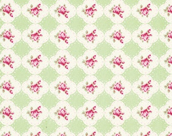 Tanya Whelan 'Rosey' Cameo Rose in Green Cotton Fabric