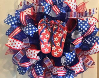 Fourth of July Wreath/ USA Wreath/ 4th of July Deco Mesh Wreath/ Patriotic Wreath/ Red White and Blue Wreath/ Flip Flop Wreath