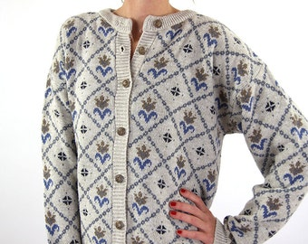 Kintted winer jacket, women cardigan, white, L, winter fashion, vintage cardigan.