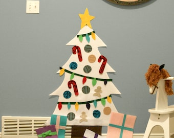 Deluxe White Christmas Felt Tree - Wall Activity. Includes hanging strips. Buy a craft, feed a baby.