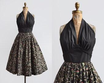 SALE Between Planets Dress / 1950s atomic printed halter dress / vintage black cotton galaxy dress