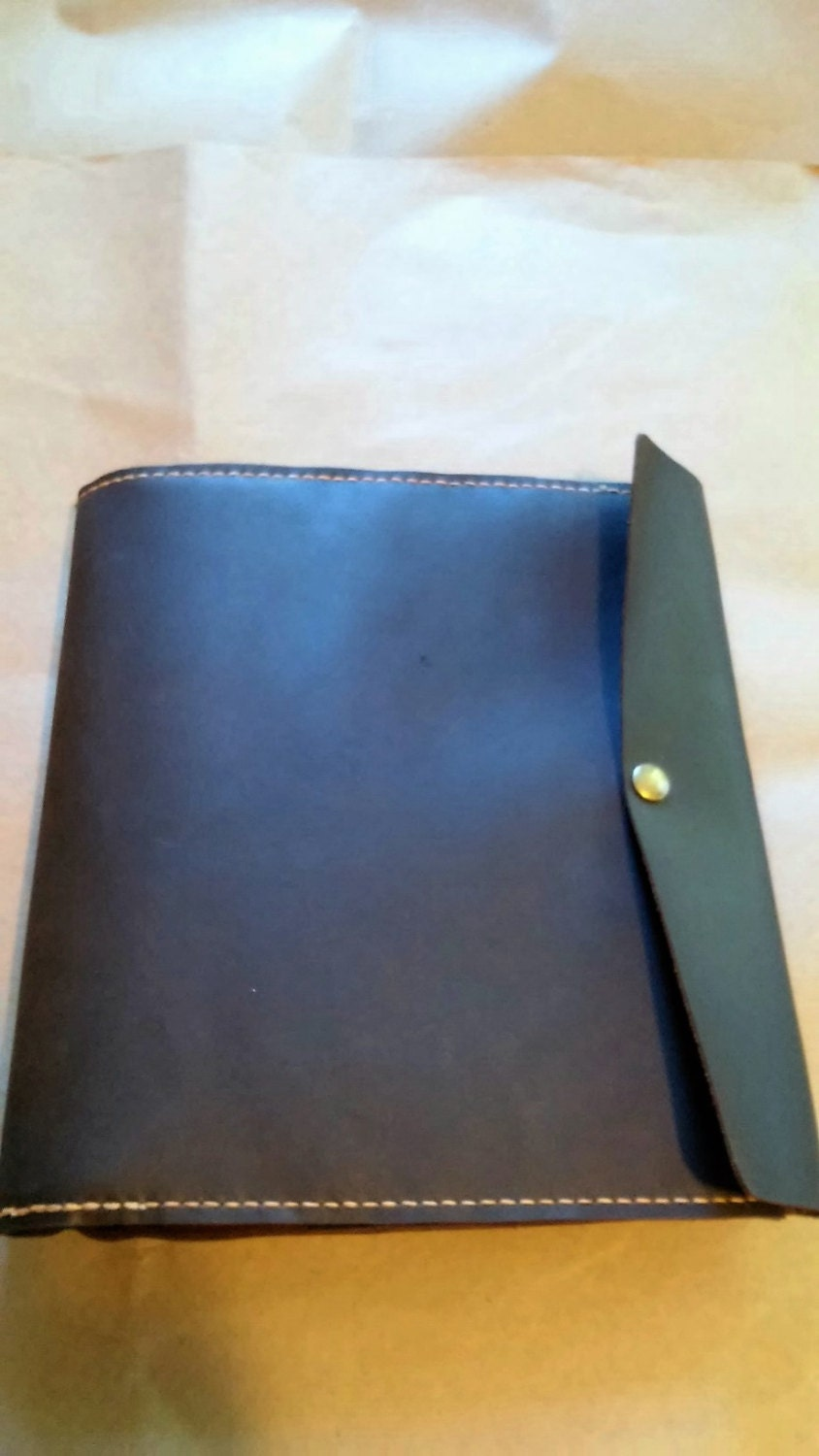 Large Leather Portfolio Notebook Holder with refillable Three Ring ...