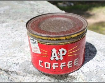 Vintage A&P Coffee Tin with Lid