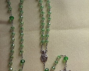 St. Jude Periodot Crystal Rosary