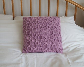 """Knitted Cushion Cover, Hand Knit Pillow Cover, Throw Pillow, Pink Pillow Sham, 14"""", 35cm - KEMBLE"""