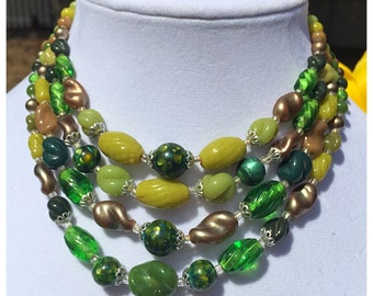 Green Multi strand Faux Pearl and Glass Bead Necklace, Vintage Green Beaded Necklace, Fall Season Necklace