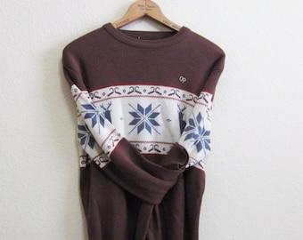 OP Brown Nordic Ski Sweater Medium Deer Snowflake