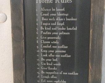 Home rules farmhouse sign
