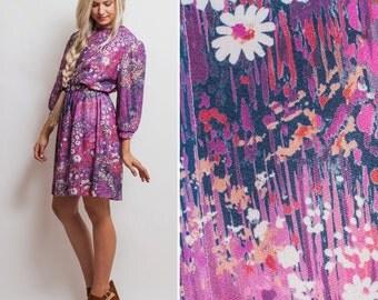 80s SECRETARY dress- Vintage EIGHTIES colorful PURPLE floral knee length long sleeve belted 1980s elastic waist dress