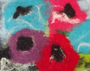 Hand Felted Picture of Flowers made using merino wool