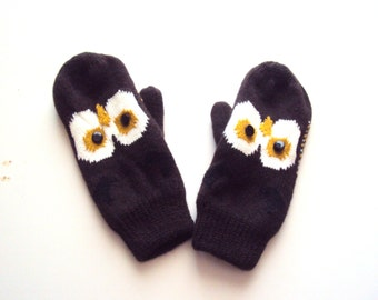 Owl Mittens Knit Gloves Fleece Lining Women Teen to Adult Fashion Accessories