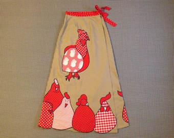1970's, canvas, wrap, maxi skirt, in khaki, with roosters and mice, Women's size Medium