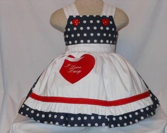 I Love Lucy Dress, Inspired Lucy Dress, Retro I love Lucy dress, Unique, Handmade Lucy Dress, Pageant, Birthday Dress, Costume Lucy Dress