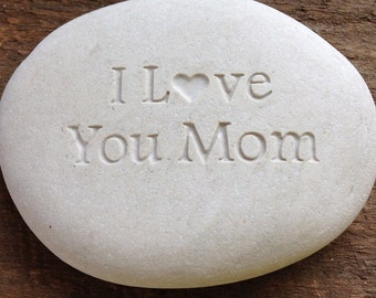 I Love You Mom Engraved Rock Stone
