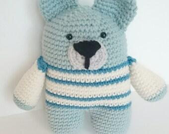 Handmade crochet rattle amigurumi bear
