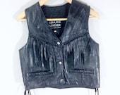 RESERVED:80s Black Leather Vest, Crop Vest, Black Cropped Vest, Black Leather Vest, Patchwork Leather Vest, 1980s Fringe Leather Biker Vest,