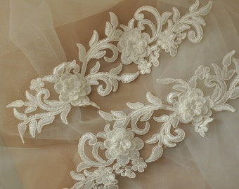 3D Alencon Lace Applique Pair , Ivory Bridal Garter Applique